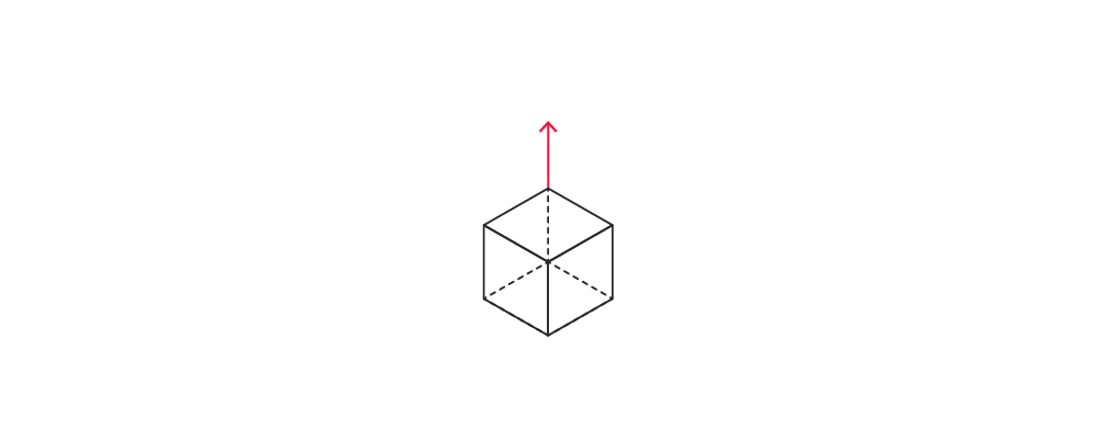 Arrow pointing upwards above box or cube